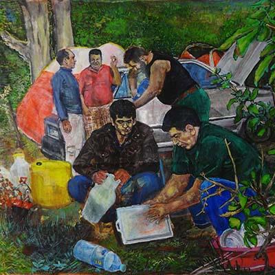 اسماعیل قنبری | اکریلیک روی بوم | 80 × 73 سانتیمتر | قیمت 2,500,000 تومان، تخفیف در نمایشگاه شبتاب 1,750,000 تومان
